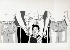 An image of Brena Jean as a toddler standing in front of three women pictured from the waist down reaching out to her from behind.