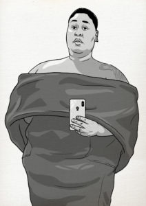 Black and white drawing of Brena, a fat black woman with lipedema wearing off the shoulder dress and taking a selfie holding her phone. There is a black power fist where the phone's apple logo is.