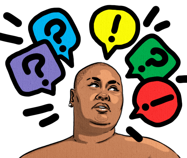 An illustration of Brena Jean, a fat Black bald woman with colorful question marks and exclamation marks around her head.