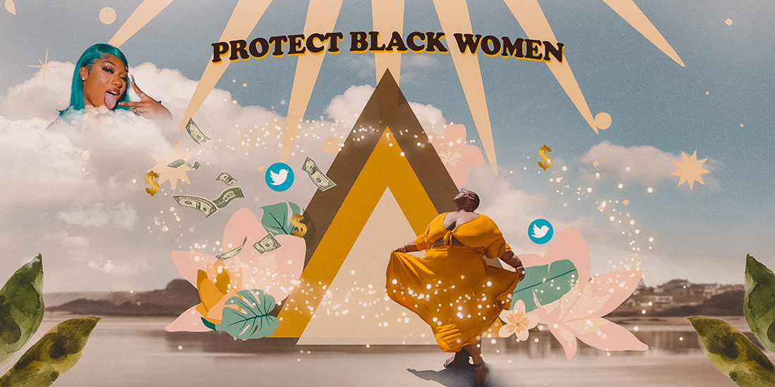 Collage images of Megan the Stallion dropping money on Brena Jean. The words 'Protect Black Women' appear along with twitter logos.