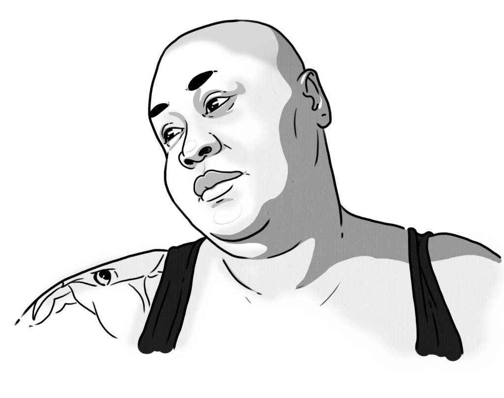 Black and white drawing of the author, Brena Jean gazing, wearing a black tank top. Brena is a fat, Black, bald queer woman with a tattoo of an elephant's head on her shoulder.